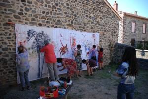 Peinture collective par les artistes foreztiers (30 août 2015)